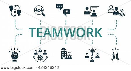 Teamwork Icon Set. Contains Editable Icons Team Building Theme Such As Focus Group, Project Team, Mo