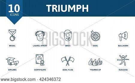 Triumph Icon Set. Contains Editable Icons Success Theme Such As Medal, Smile, Bullhorn And More.