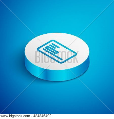 Isometric Line Visiting Card, Business Card Icon Isolated On Blue Background. Corporate Identity Tem