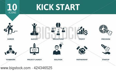 Kick Start Icon Set. Contains Editable Icons Startup Theme Such As Career, Brainstorm, Precision And