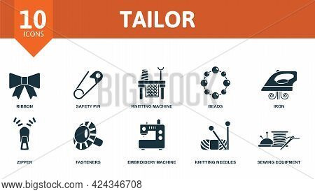 Tailor Icon Set. Contains Editable Icons Sewing Equipment Theme Such As Ribbon, Knitting Machine, Ir