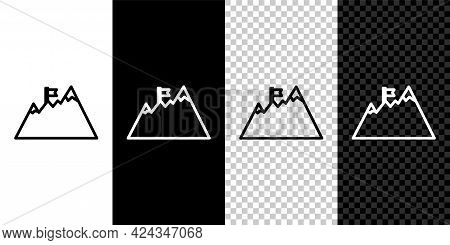 Set Line Mountains With Flag On Top Icon Isolated On Black And White Background. Symbol Of Victory O