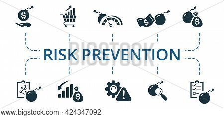 Risk Prevention Icon Set. Contains Editable Icons Risk Management Theme Such As Assurance, Emerging