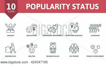 Popularity Status Icon Set. Contains Editable Icons Reputation Management Theme Such As Speaker, Kno