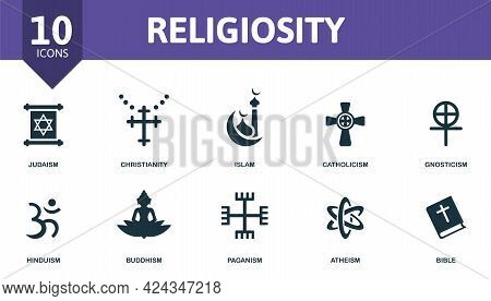 Religiosity Icon Set. Contains Editable Icons Religion Theme Such As Judaism, Islam, Gnosticism And