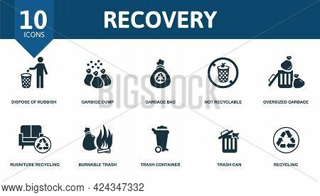 Recovery Icon Set. Contains Editable Icons Recycling Theme Such As Dispose Of Rubbish, Garbage Bag,