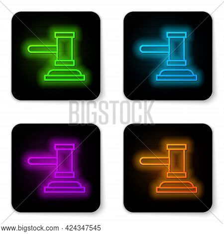 Glowing Neon Line Judge Gavel Icon Isolated On White Background. Gavel For Adjudication Of Sentences