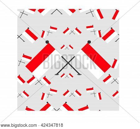 Vector Illustration Of Indonesian Pattern Flags And White Colors Background.