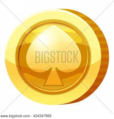 Gold Medal Coin Spades Symbol. Golden Token For Games, User Interface Asset Element. Vector Illustra