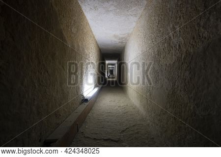 Tunnel Entrance To The Ancient Egyptian Pyramid. A Long Passage In The Pyramid Of Giza. A Prehistori