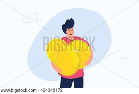Young Happy Man Standing Alone And Hugging Heavy Three Golden Coins. Flat Vector Illustration Of Peo