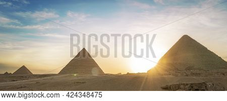 Archaeological Complex Of The Great Egyptian Pyramids Is Located On The Giza Plateau. Pyramids Of Ch