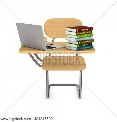 School desk, pile books and laptop on white background. Isolated 3D illustration