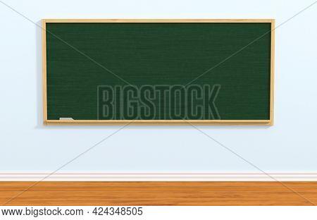 School blackboard in classroom. 3D illustration