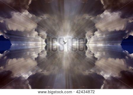 White dove prefiguring Holy Spirit flying in the heavens. poster