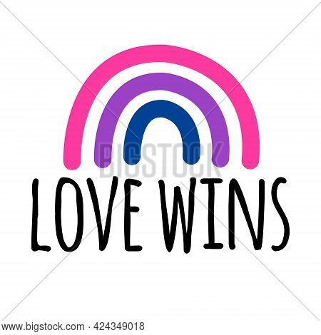 Vector Hand Drawn Doodle Flat Lgbt Bi Bisexual Flag Rainbow And Love Wins Lettering Isolated On Whit