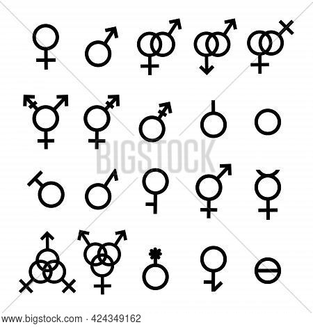 Vector Flat Gender Symbols And Sexual Orientation Icons Set Isolated On White Background. Male, Fema