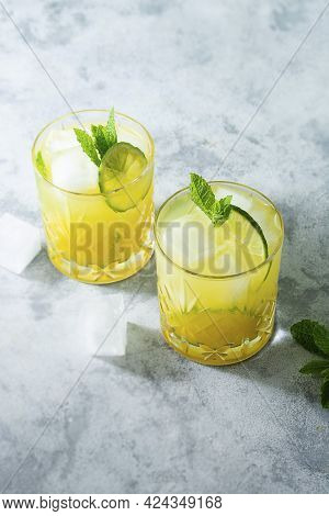 Citrus Lemonade With Ice Cubes, Juice And Lime Fruit ,summer Refreshing Drinks