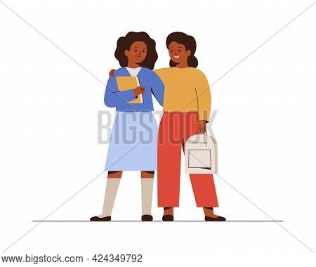 Smiling Girls Back To School Or College. African American Female Classmates Or Friends With Backpack