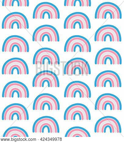 Vector Seamless Pattern Of Hand Drawn Doodle Flat Lgbt Trans Transsexual Transgender Flag Rainbow Is
