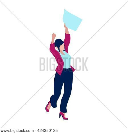 Happy Woman Clerk After Getting Job Or Promotion Isometric Icon On White Background Vector Illustrat
