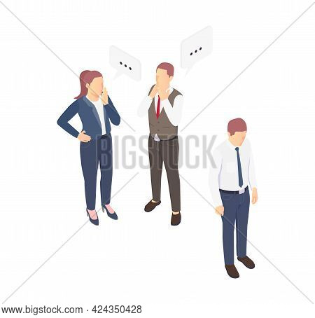 Problem Situation Icon With Sad Man And His Gossiping Colleagues Isometric Vector Illustration