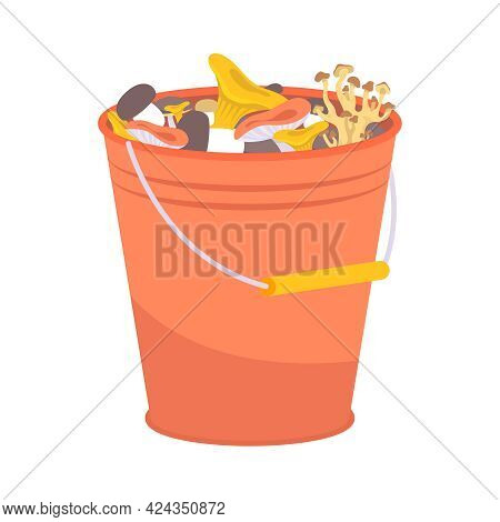 Bucket With Gathered Assorted Mushrooms Flat Icon Vector Illustration