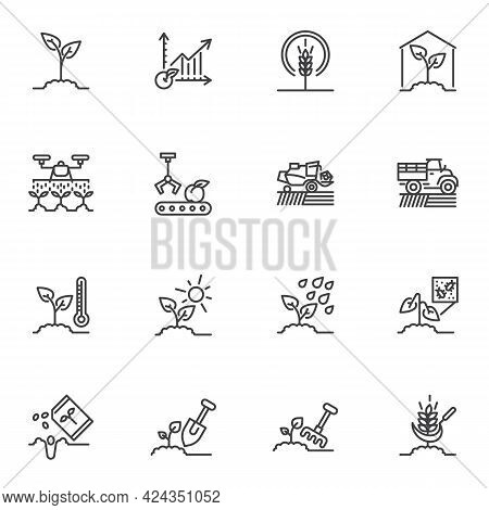 Agriculture Related Line Icons Set, Outline Vector Symbol Collection, Linear Style Pictogram Pack. S