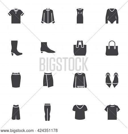 Clothing And Accessories Vector Icons Set, Modern Solid Symbol Collection, Filled Style Pictogram Pa