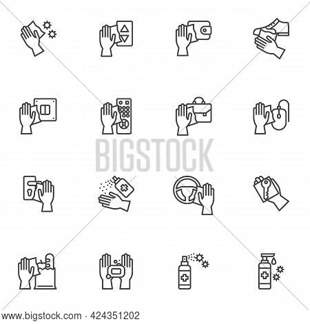 Disinfection And Sterilization Line Icons Set, Outline Vector Symbol Collection, Linear Style Pictog