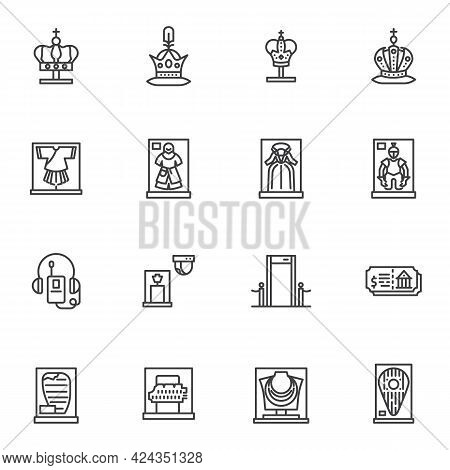 Museum Exhibitions Line Icons Set, Outline Vector Symbol Collection, Linear Style Pictogram Pack. Si