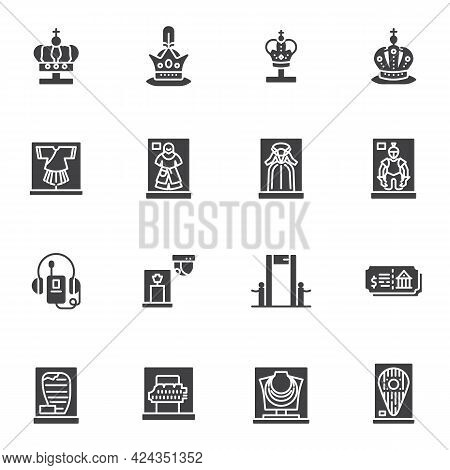 Museum Exhibitions Vector Icons Set, Modern Solid Symbol Collection, Filled Style Pictogram Pack. Si