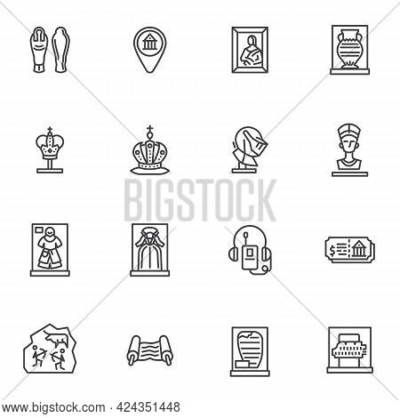 Museum Exhibition Gallery Line Icons Set, Outline Vector Symbol Collection, Linear Style Pictogram P