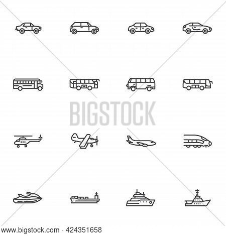 Transportation Vehicle Line Icons Set, Outline Vector Symbol Collection, Linear Style Pictogram Pack