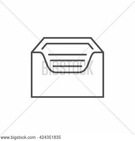 Napkins Holder Line Outline Icon Isolated On White