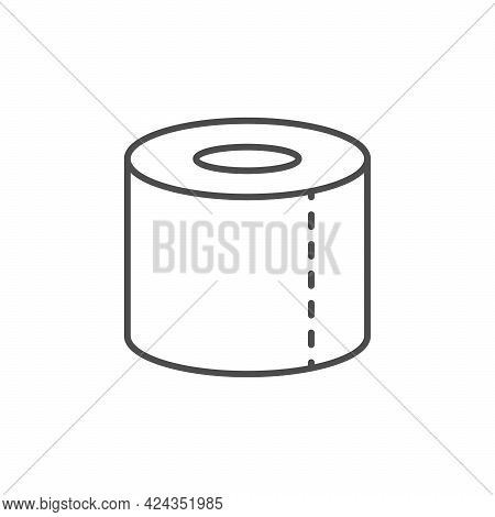 Toilet Paper Line Outline Icon Isolated On White