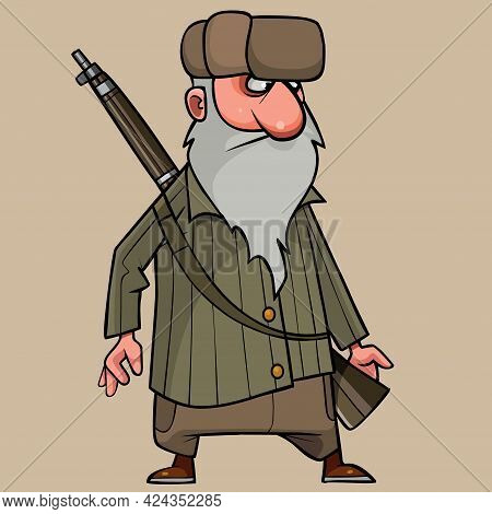 Cartoon Grandfather In Winter Clothes With A Rifle Behind His Back