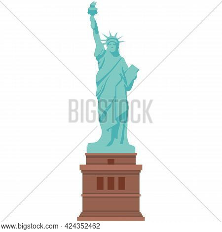Statue Of Liberty Vector Illustration Isolated On White Background