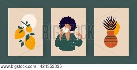 Contemporary Art Posters In Pastel Colors. Branch Of Lemons And Abstract Boho Woman With Cup. Minima