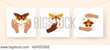 Trendy Abstract Square Boho Art Set. Hands Hold Butterflies And Dragonflies. Minimalistic Compositio