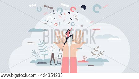 Achievement Or Successful Career Rise Or Growth Challenge Tiny Person Concept. Business Target Or Go