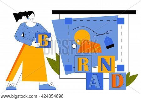 Branding Web Concept. Marketer Promotes New Business, Creates Brand Name For Products, Makes Adverti