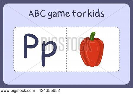 Kid Alphabet Mini Games In Cartoon Style With Letter P - Pepper. Vector Illustration For Game Design