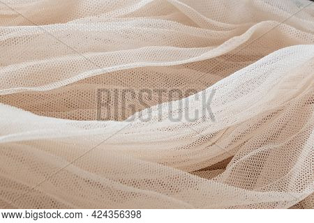 Close Up Texture Of Ivory Tulle Textile, Background