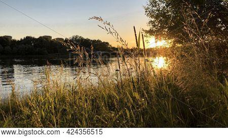 Golden Summer Sunset Over River, Sun Down Over Forest On Horizon Line