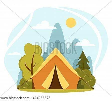 Summer Camp Concept. Camping Landscape. Sunny Day Landscape Illustration In Flat Style With Tent, Mo