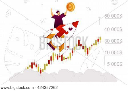 Bitcoin Growth Web Concept. Evolving Crypto Business, Profit On Stock Chart. People Scene With Flat