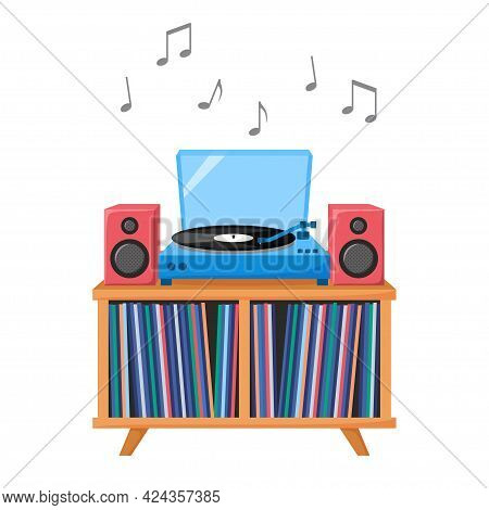 Turntable Playing Vinyl Record. Retro Audio Device With Acoustic System. Analog Music Player With Vi