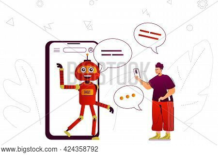 Virtual Assistant Web Concept. Online Assistant Robot Assists User In Mobile App. People Scene With