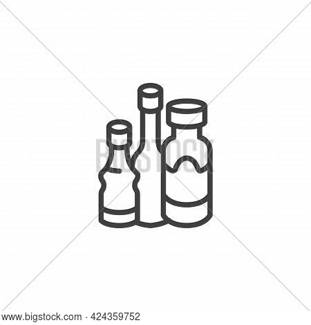 Bottles Of Sauce Line Icon. Linear Style Sign For Mobile Concept And Web Design. Snack Sauces Outlin